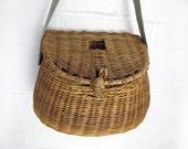 French vintage wicker fishing  basket, children wicker basket