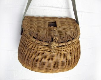 French vintage wicker fishing  basket, children wicker basket