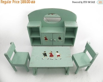 circa 1950, small wooden furniture,robbin eggs hand painted , french child illustration pattern, doll house  french modern