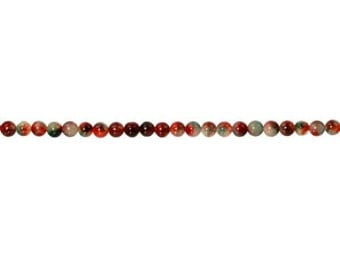 Dyed Red And Green Jade  Round Beads 6mm - 1 Strand (9107) Wholesale price