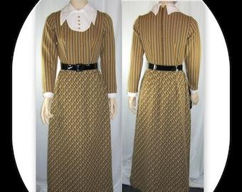 End Summer Sale Vintage 1960s - 70s Maxi Dress LS Brown Gold Polyester School Marm B34 W24 Xxs Xs