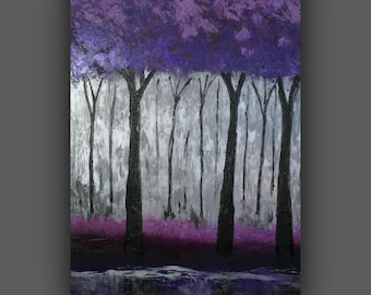 Trees, Purple, Silver, Gray, Forest, Original Abstract Painting