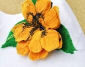 Felt flower, brooch, flower, yellow, black, green  beads