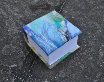 Felted notepad, silk, wool, nuno, felted, gift, fibre art, white, blue, green, black