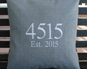House Number Outdoor Pillow Cover in Graphite Grey