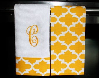 Monogram Kitchen Towels or Hand Towels in  Saffron Yellow Quatrefoil | Housewarming Gift | Hostess Gift | Gifts for Her | Wedding