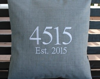 House Number Outdoor Pillow Cover in Graphite Grey | Address | Personalized | Housewarming | Wedding | Date | Established | Gift