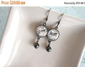 Mothers Day Sale Rivoli Swarovski Crystal Clear Black Pearl Gunmetal Drop Earring