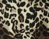 Leopard Ponte Knit, Leopard Knit Fabric, Leopard Apparel Fabric Yardage, Brown Taupe Cream Ponte Knit, 2- Way Stretch Fabric, De-Stashing