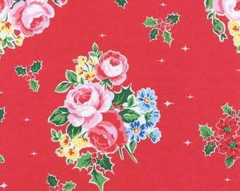 Flower Sugar Holiday Fabric Red Floral And Holly Lecien Fabrics Half Yard
