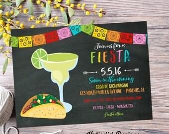 cinco de mayo invitations fiesta couples shower Papel Picado chalkboard taco margarita rehearsal dinner housewarming engagement party 367
