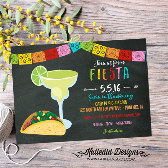 cinco de mayo invitations fiesta couples shower Papel Picado chalkboard taco margarita rehearsal dinner housewarming engagement party 367