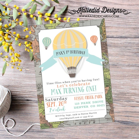hot air balloon birthday invitation map baby shower adventure awaits oh the places graduation world travel (item 294) around the world