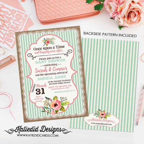 storybook baby shower invitation once upon a time bridal shower invitation burlap coral mint stripe coed diaper gender neutral item 1346