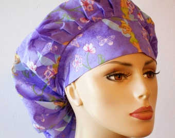 Scrub Hats Womens Bouffant Scrub Hat -  Tinkerbelle Lilac With A Matching  Headband