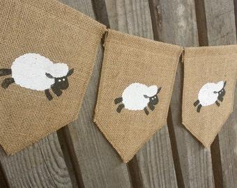 Sheep Banner, Lamb Banner, Easter Banner, Lamb Bunting, Nursery Banner, Baby Shower,