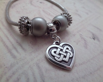 Celtic Knot Heart Charm Bracelet from Scotland, Silver Tone, Big Slider Beads