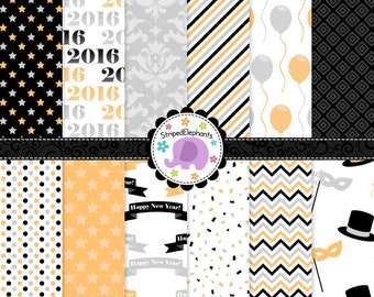 New Year's Eve Digital Paper Pack, new years digital scrapbook, new years digital background, digi scrap, Commercial Use