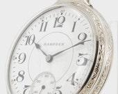 Hampden grade No. 108 vintage pocket watch, 16 Size, 17 Jewels, white gold filled screw back & bezel engraved case