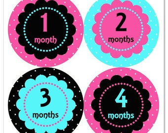 Baby Month Stickers, Monthly Baby Girl Stickers, Baby Month Milestone Stickers - Baby Girl, Baby Shower Gift Polka Dot