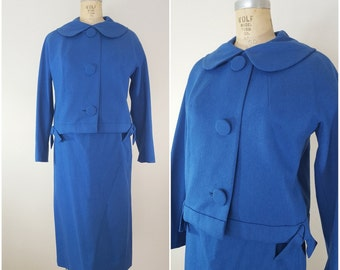 Vintage 1960s Mod Suit / Skirt Suit / Blue Wool / Jacket and Skirt Set / Medium