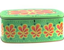 Mid Century Vintage Retro Storage Tin Box / Canister - Scandinavian Design Look a Like Anita Wangel 70s IRA Denmark.. Made in Belgium..
