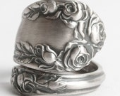 Victorian Rose Ring, Sterling Silver Spoon Ring, Antique Wallace Silver 1888, Handmade Gift for Her, Thumb Ring, Adjustable Ring Size (6092)