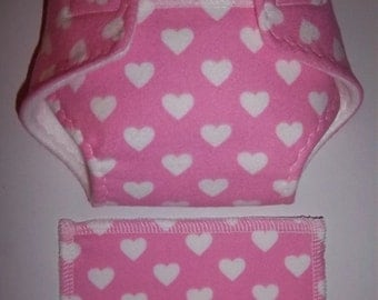 Baby Doll Diaper/wipe - pretty white hearts on bright pink  - See Shop Special - adjustable for many dolls such as bitty baby