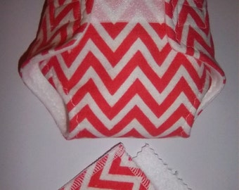 Baby Doll Diaper/wipes - chevron stripe -  adjustable for many dolls, bitty baby