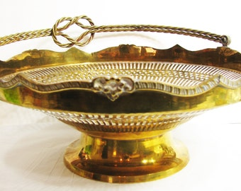Vintage Brass Bowl, Large Pedestal Bowl, Console Bowl, Sculpted, Folding Handle Brass Basket ... Ornate, Scalloped Edge, Pierced Gallery