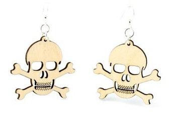 Skull and Crossbones - Wood Earrings