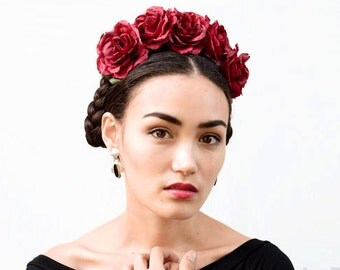 Red Rose Flower Crown, Red Rose Crown, Frida Kahlo, Dark Red Rose Crown, Red Rose Headband, Rose Crown, Burgundy, Rose Flower Headpiece