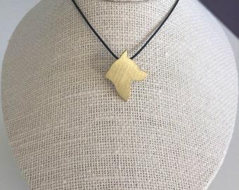 Husky necklace, Husky charm, Husky silhouette, Brass dog necklace, pet memorial gift