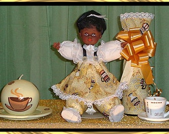Anisa OOAK,  African American Doll Gift Set, includes two coffee candles and Champagne Bottle Cover