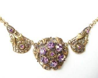 Art Deco Necklace Czech Amethyst Glass Rhinestones 1920's 30's