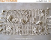 ON SALE Vintage French Hand Crochet Table Runner Grape and Vine Leaf Detail Taupe Cotton