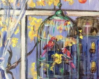 "Birdcage Painting City Window Painting Original Art 6 x 6"""