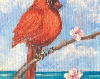 Red cardinal bird no.6 original art 7 x 5