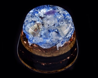 Orgonite Orgone Generator. Moonstone, Citrine, Amethyst, Tibetan Crystal, Phenacite, Rhodizite, Petalite, Black Tourmaline, Shungite