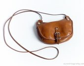 Vintage Small Brown Leather Crossbody Purse / Tan Leather Shoulder Bag / Brown Leather Crossbody Purse