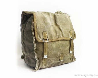 Vintage Military Green Canvas Backpack / Canvas Army Rucksack Bag 70s