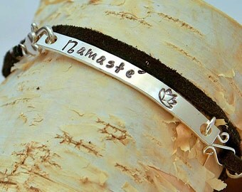 Stamped Wrap Bracelet - Sterling Silver - Leather - Handmade