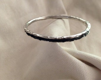 Sterling Silver Bangle Bracelet.  Sterling Silver Wire. Anticlastic Formed. U-Channelled