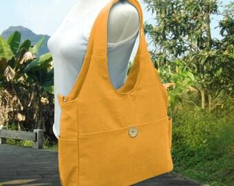 Golden canvas diaper bag, canvas tote purse, womens purse, shoulder bag,  crossbody messenger bag for men and women
