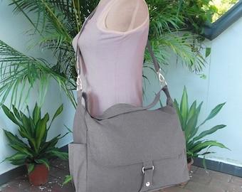 Summer Sale 10% off Gray travel bag, school bag, diaper bag, canvas purse, shoulder bag, messenger bag for women