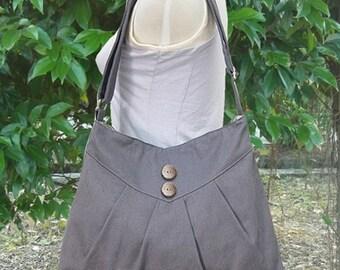 Holiday On Sale 10% off Gray purse / cross body bag / messenger bag / shoulder bag / diaper bag  - cotton canvas