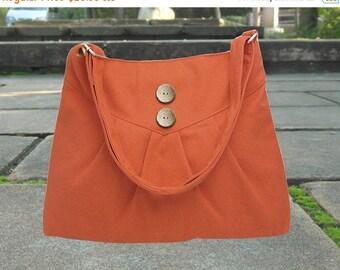 Holiday On Sale 10% off orange cross body bag / messenger bag / shoulder bag / diaper bag  - cotton canvas