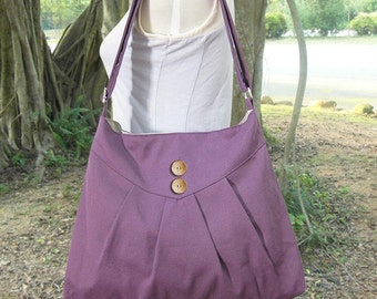 purple cross body bag / messenger bag / shoulder bag / diaper bag  - cotton canvas
