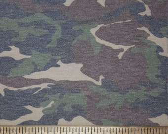 Camoflauge, Soft black, Chocolate Brown, Green, light Tan Weathered CAmoflauge Knit FAbric