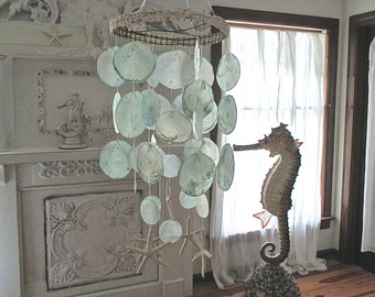 Turquoise Wind Chimes, Capiz, Starfish, Shells. Beach Cottage by searchnrescue2